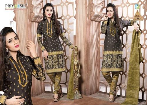 Unstitched Black Full Sleeve Salwar Suit