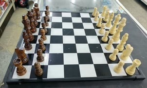 Wooden Chess Board And Wooden Coins