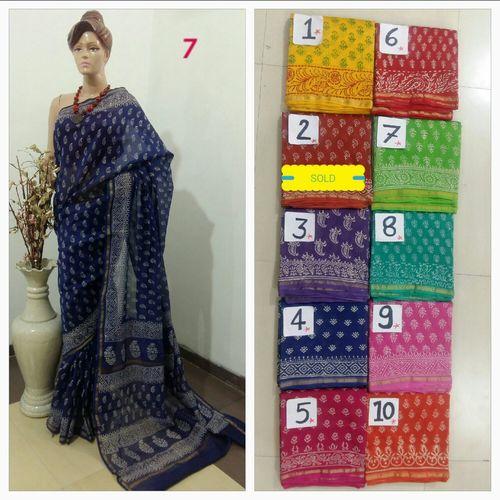 Block Print Chanderi Handloom Silk Cotton Sarees