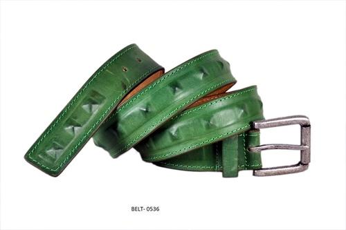 Green Colour Leather Belt in  Jajmau