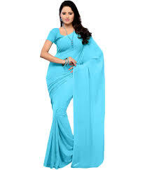Blue Cotton Saree in  Bhestan