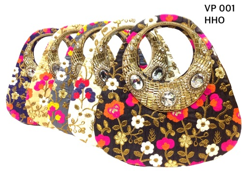 Ladies Stone Embelished Handle Embroidered Bags