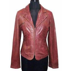 Ladies Lamb Waxy Leather Jacket