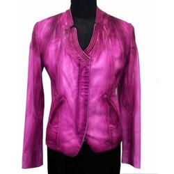 Ladies Modern Lamb Satin Leather Jacket