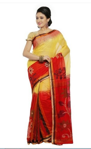 048d73549d7 Red and Yellow Color Muslin Handloom Saree in Kolkata, West Bengal ...