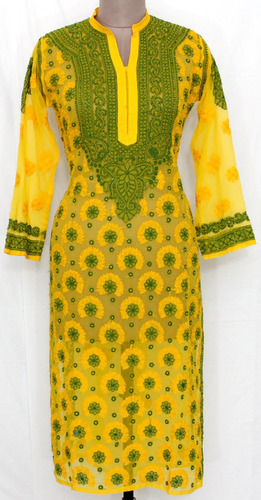 Deep Yellow Hand Embroidered Lucknowi Chikankari Long Kurti