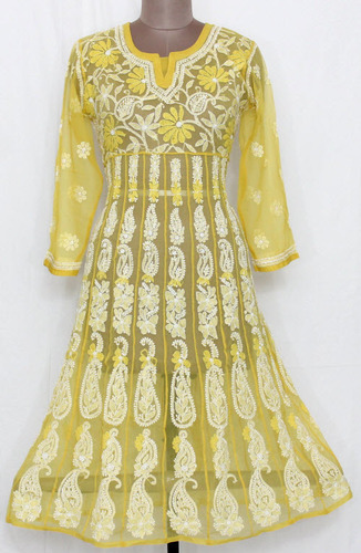 Golden Yellow Hand Embroidered Lucknowi Chikankari Anarkali Kurti