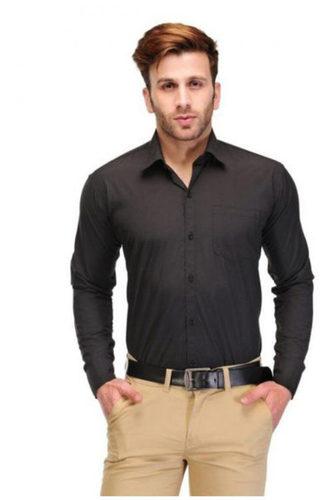 Black Formal Slim Fit Men Shirt