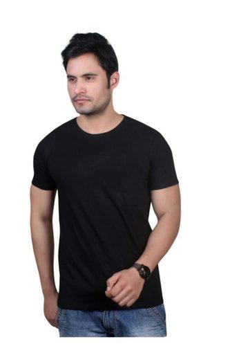 Black Round Neck Men T Shirt