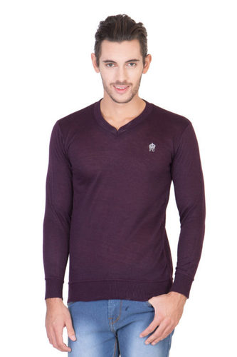 Purple Mens V Neck T Shirt in  Nangloi