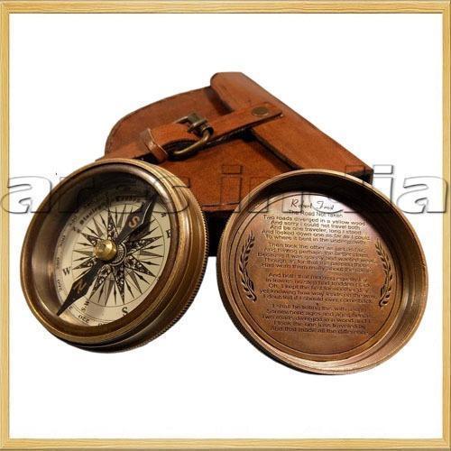 Antique Vintage Style Brass Pocket Compass W Leather Case