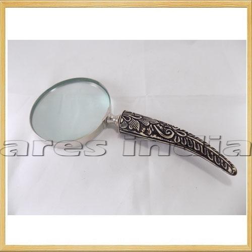Beautiful Handle 5X Brass Magnifying Glass