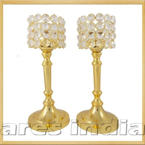 Gold Finish Crystal Votive Tealight Candle Holders