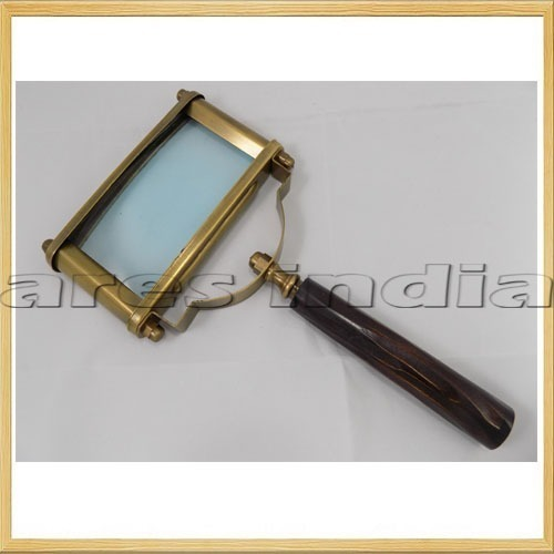 Wooden Red Handle 5x Magnifying Glass