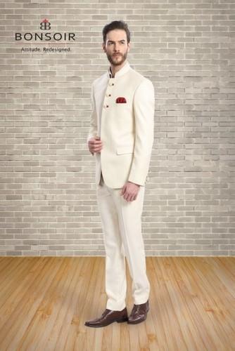 Cream Bandhgala Suit