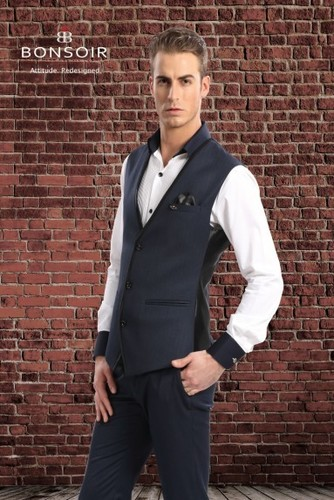 Regular Fit Blue Waistcoat Set