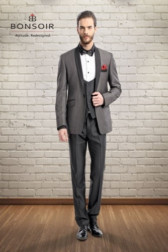 Regular Fit Grey 5PC Suit