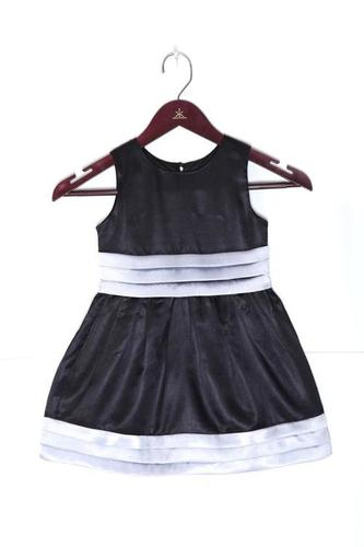 Black Pleated Sateen Kids Dress