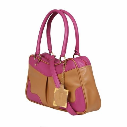 Beige Pink Ladies Leather Handbags