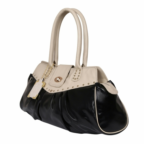 Black Beige Ladies Synthetic Leather Bags