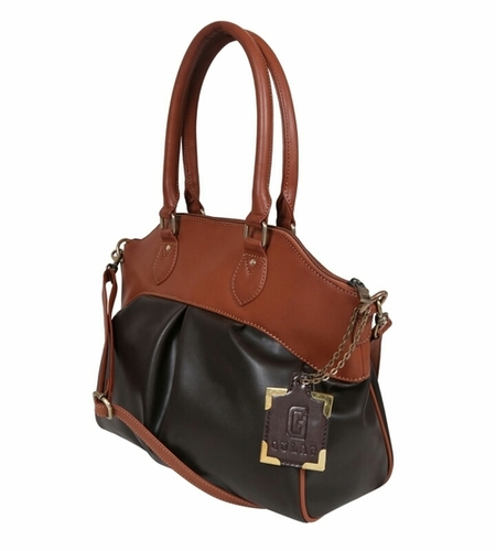 Black Tan Ladies Synthetic Leather Bags