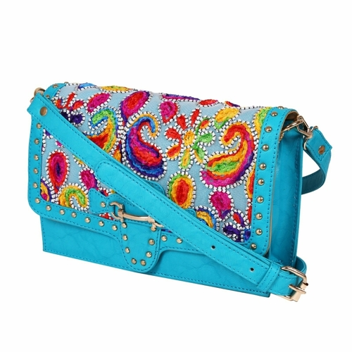 Embroidered Ladies Synthetic Leather Bags