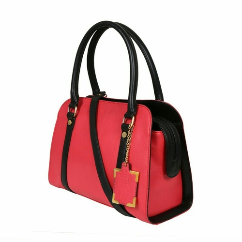Pink Black Ladies Synthetic Leather Bags