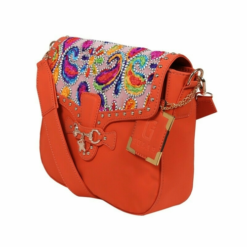 UND 00114 Orange Embroidery Ladies Synthetic Leather Bags