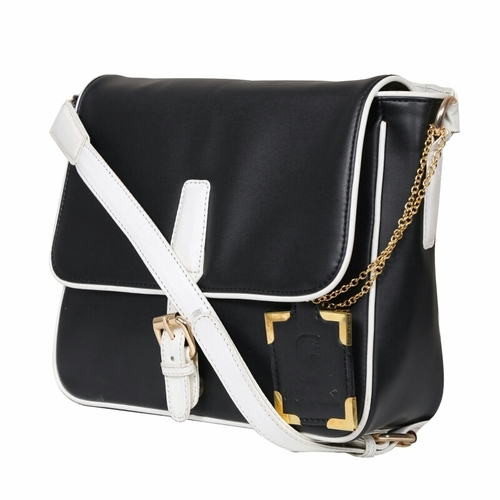 Und 00119 Black White Synthetic Leather Bags