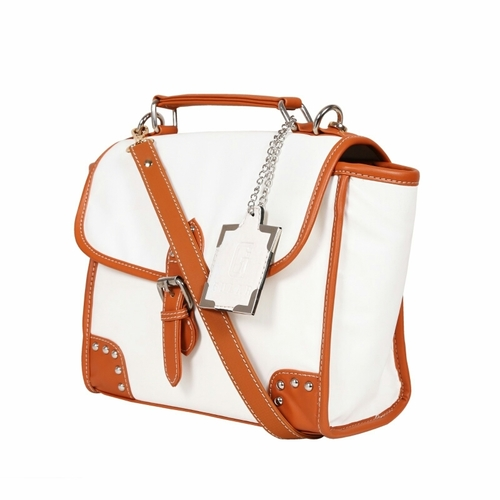 White Tan Ladies Synthetic Leather Bags