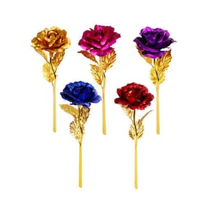 Coloured Metal Rose For Gifting