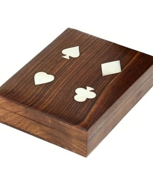 Handmade Indian Wooden Double Playing Card Storage Box