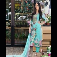 Embroidered Digital Swiss Voile Shirt With Pure Chiffon Dupatta