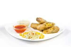 Spiced Paneer (Full Fat Soft Cheese) and Vegetable Spring Roll