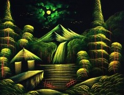 Green Colour Landscape Painting