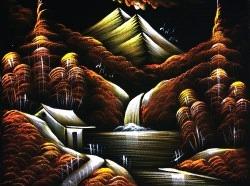 Shiv Shakti Art Landscape Painting On Black Velvet Fabric