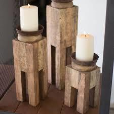 Wooden Handcrafted Candle Holder With Three Slots