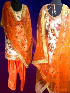 Orange Color Floral Print Raw Silk Ready Made Patiala Suit