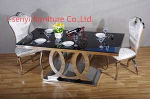 Modern And Customized Stainless Steel Base Glass Top Home Dining Table & Chairs