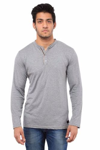 Pure Cotton Henley Grey T Shirts in  10a-Sector