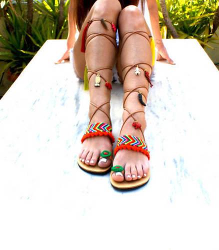 f7333551d4411 Tie Up Leather Pompom Sandals - Indian Handicraft Supplier, Krishna ...