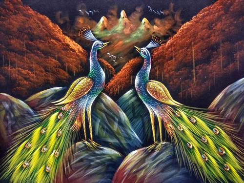 Peacock Velvet Paintings