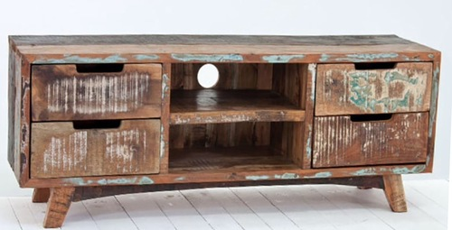 Reclaimed Wooden Television Unit Stand