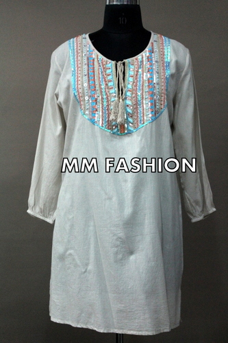 Party Wear Cotton Embroidered Kurtis