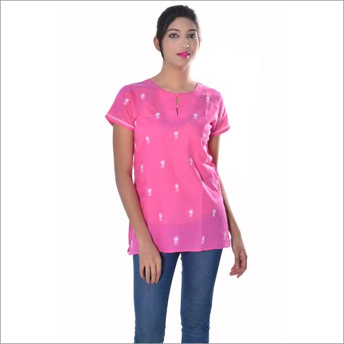 Pink Short Ladies Chikan Kurti