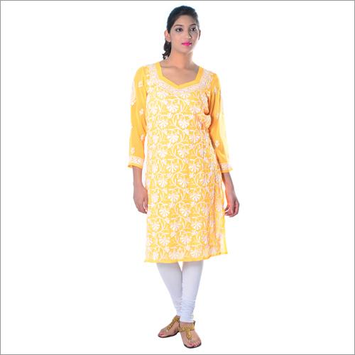 Yellow Georgette Ladies Chikan Kurta
