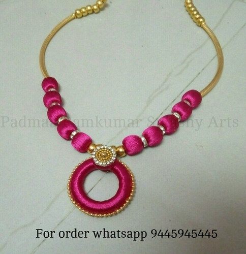 purple thread silk necklace trendy jayanthi