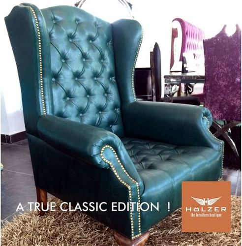 Classical Wing Accent Leather Chair