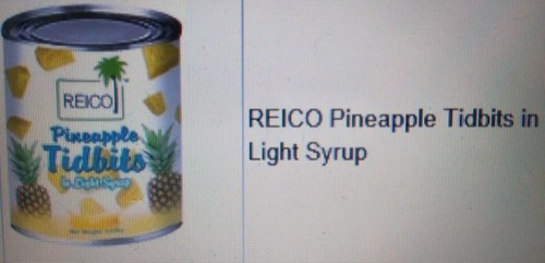 Top Range Reico Pineapple Tidbits In Light Syrup