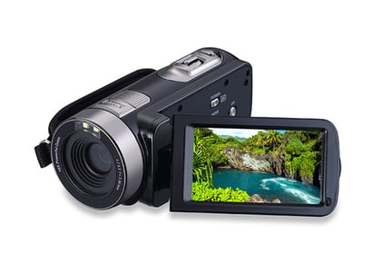Black Portable 1080P Hd Video Camera 301Str With Touch Screen